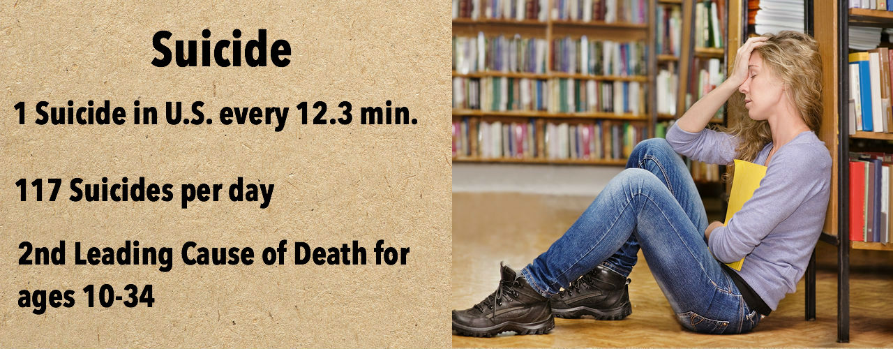 Banner with picture of girl in library with hand on head used to provide suicide statistics