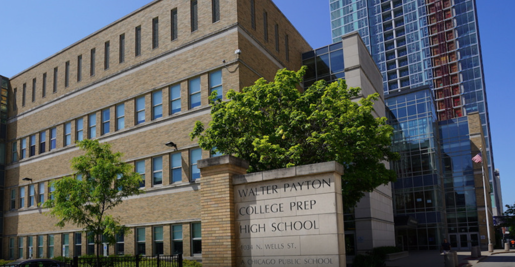 Outside Photograph of Walter Payton College Prep High School Building to promote event