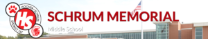 Picture of Schrum Memorial logo and the top half of the building
